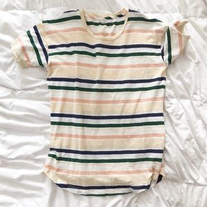 Madewell striped feather v neck tee xs